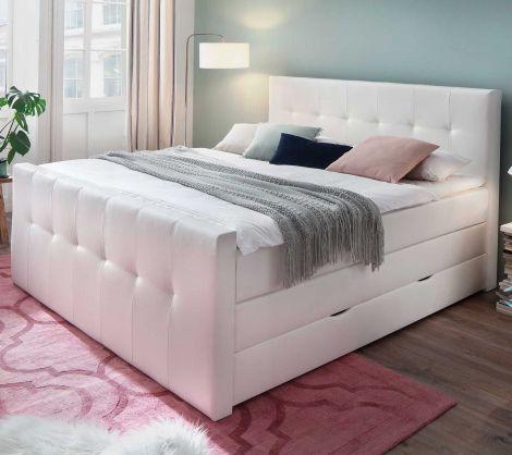 Lit boxspring Baras avec boîte de lit 180x200 - blanc (H3)