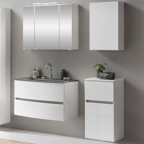 Ensemble salle de bains Kornel 8 à 4 pièces avec vasque grise - blanc
