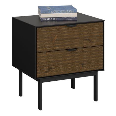 Table de chevet Selma 2 tiroirs - noir/brun