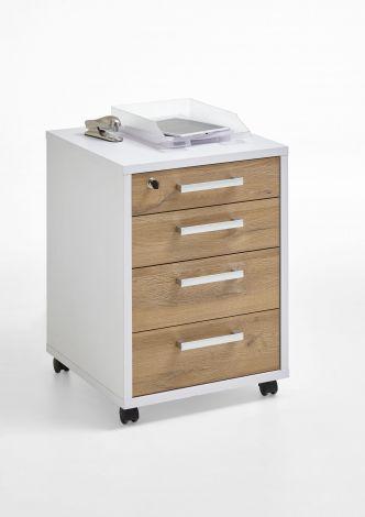 Caisson à tiroirs Gabi - blanc brillant/chêne vieilli