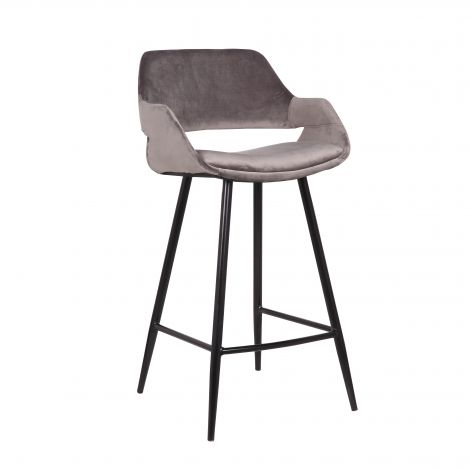 Lot de 2 chaises de bar Erika - hauteur d'assise 65 cm - gris