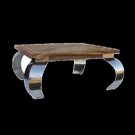 Table basse Opium 130x80cm - teck/acier inoxydable
