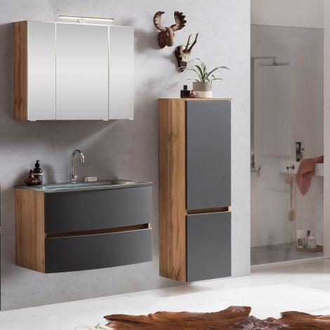 Ensemble salle de bains Kornel 4 à 3 pièces avec vasque grise - chêne/gris mat