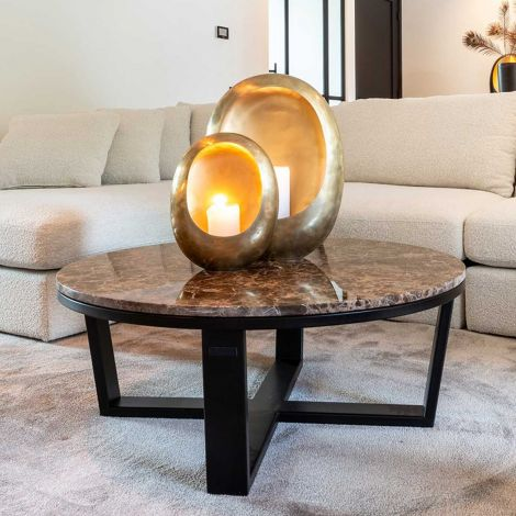 Table basse Dalex Ø90 - marbre brun