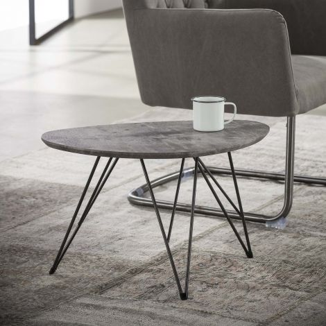 Table basse Nova 60x40 avec pieds épingle - béton
