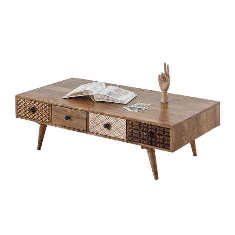 Table basse Rogier 117cm avec 8 tiroirs - bois de manguier