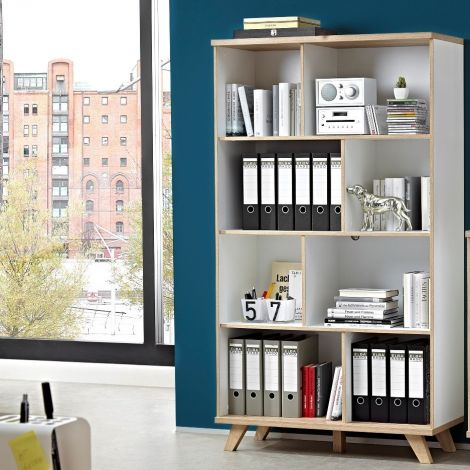 Bibliothèque Ousmane 120cm avec 8 espaces de rangement - blanc/chêne