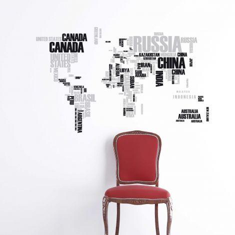 Sticker mural Mappemonde XL