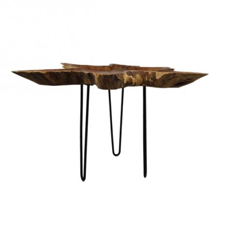 Table basse Ribbon ø70cm - teck bois de récine/noir