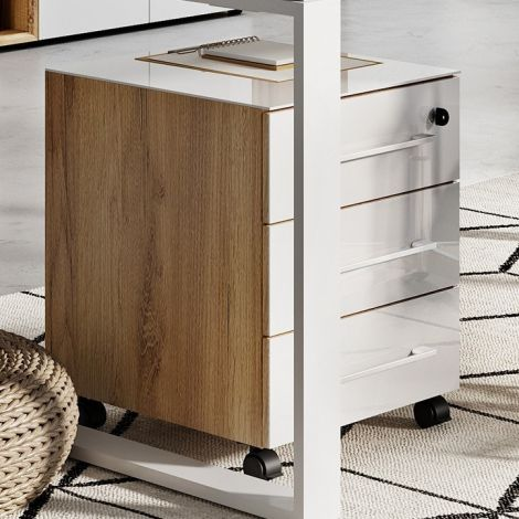 Caisson à tiroirs Mouna - chêne/blanc