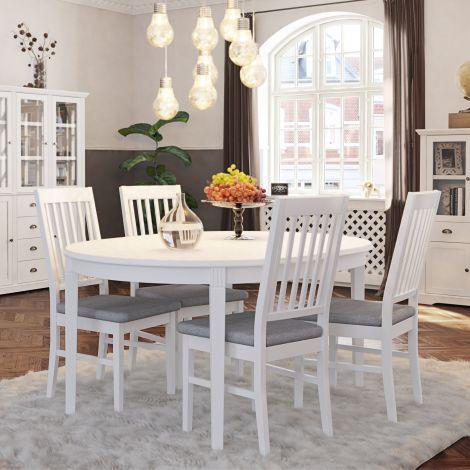 Table à manger extensible Verner 120/160x120 - blanc