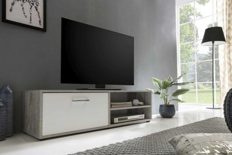 Meuble TV Sami 1 porte 120cm - blanc/béton