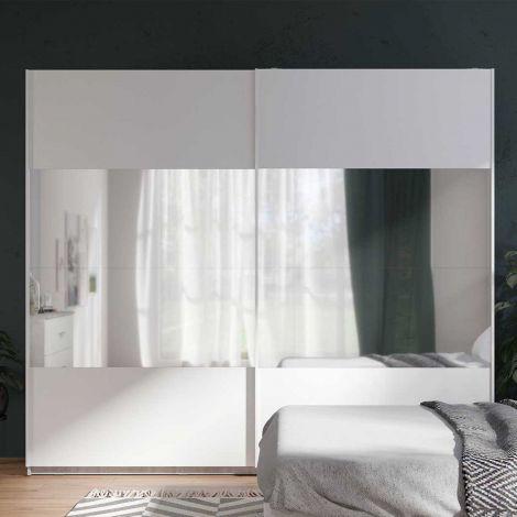Armoire Soma 250cm avec 2 portes coulissantes & miroir - blanc/béton