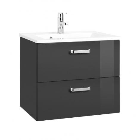 Meuble vasque Bobbi 60cm avec 2 tiroirs et vasque céramique - graphite/gris brillant