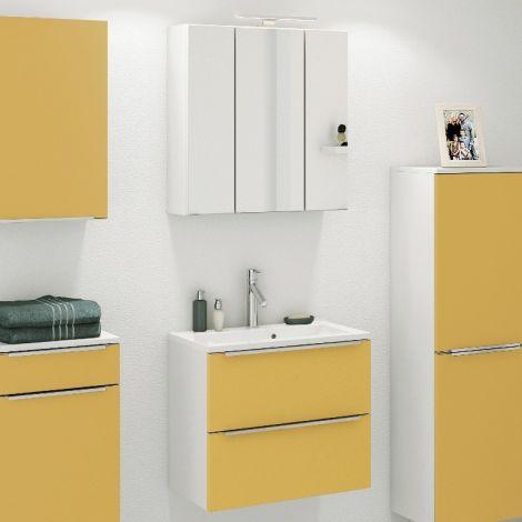 Ensemble salle de bains Hansen 5 60cm - jaune/blanc