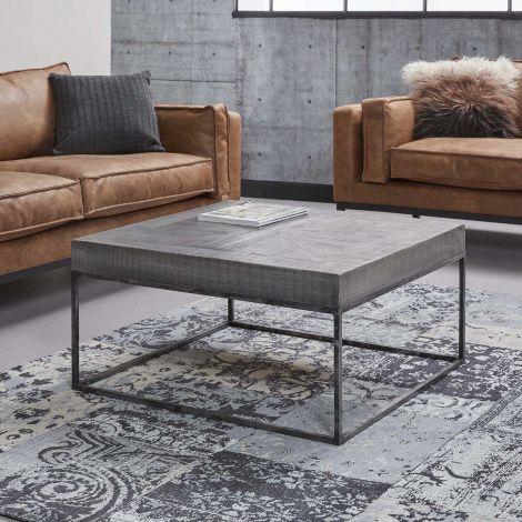 Table basse Emma 80x80 industriel - bois de mangue