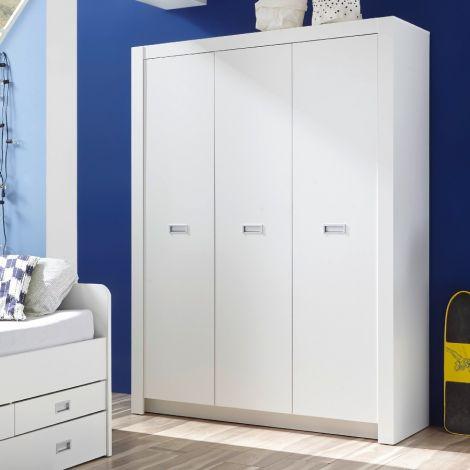 Armoire à vêtements Arkea 137cm avec 3 portes - blanc