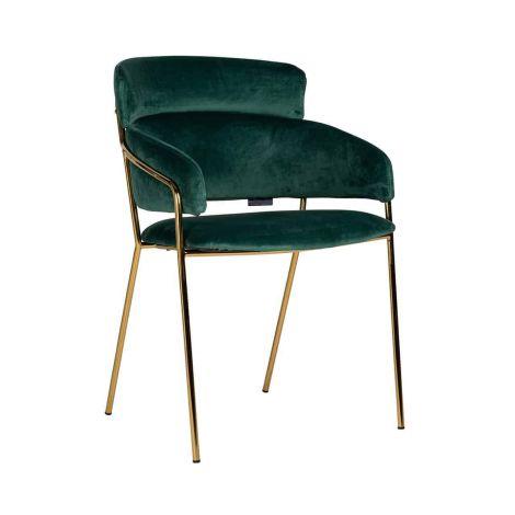 Chaise de salle à manger Angelique velours - vert