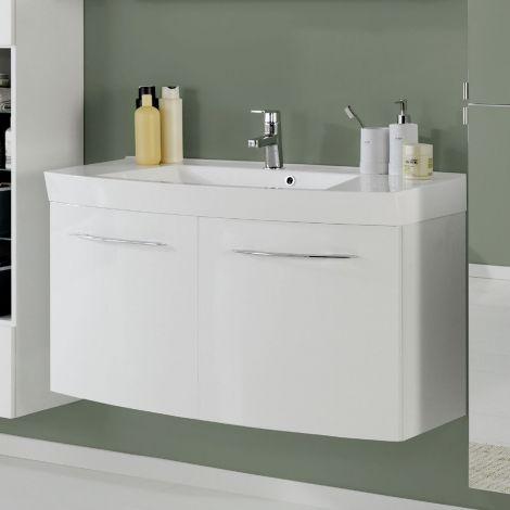 Meuble vasque Florent courbé 100cm 2 portes - blanc