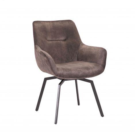 Chaise pivotante Modesta velours côtelé - taupe