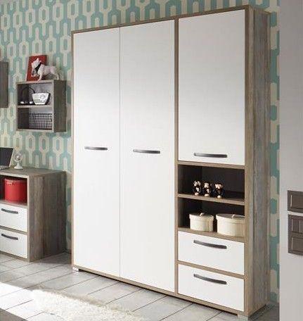 Armoire à vêtements Petrus 138cm 3 portes & 2 tiroirs - blanc/bois flottant