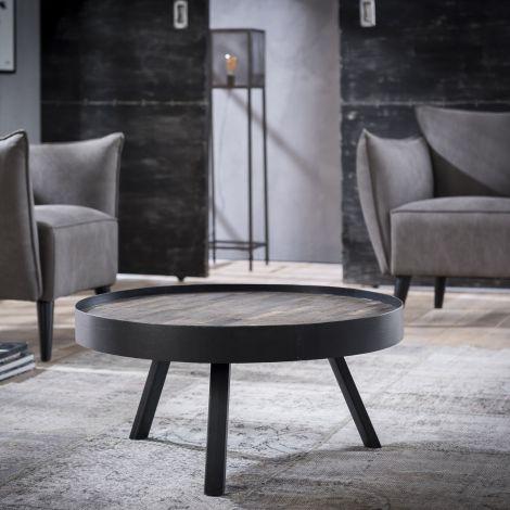 Table basse Teca ø75 industriel - teck