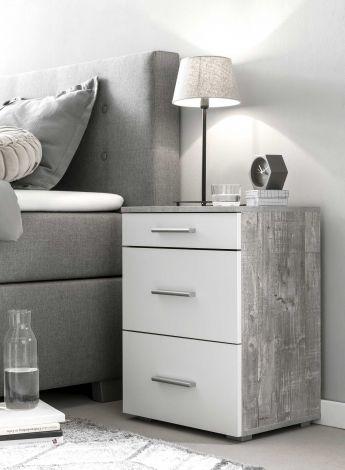 Table de chevet Bedside 3 tiroirs - blanc / béton