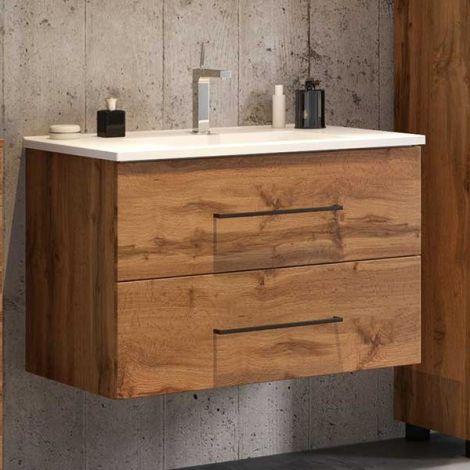 Meuble lavabo Dusan 80 cm 2 tiroirs - chêne wotan