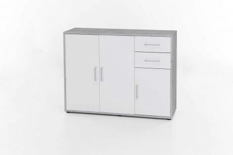 Armoire Maxi-office 3 portes & 2 tiroirs - béton/blanc