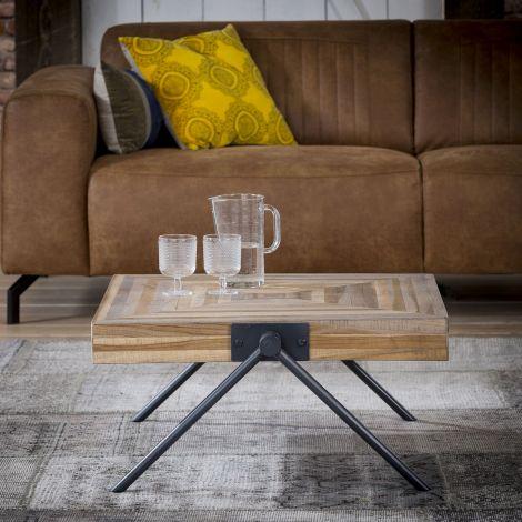 Table basse Teca balance 70x70 industriel - teck