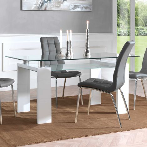 Table à manger Eline 160x80 - blanc brillant