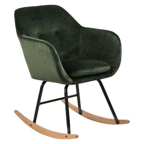 Chaise à bascule Hermeline en velours - vert forêt