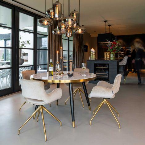 Table à manger Delia Ø130 - marbre blanc/noir/or