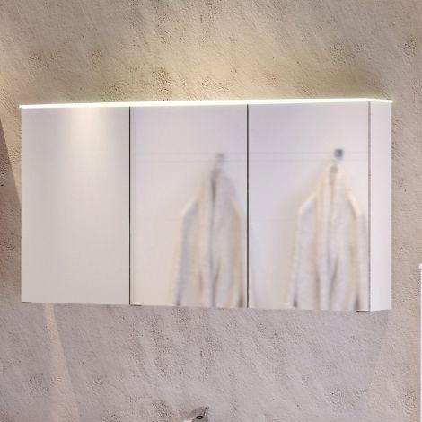 Armoire de toilette Florent courbée 120cm 3 portes & barre LED - blanc