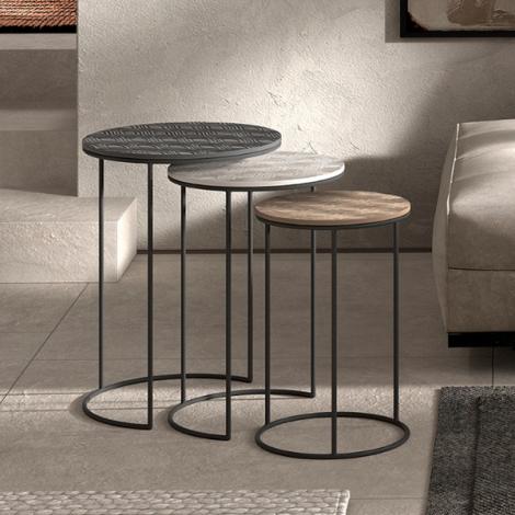 Lot de 3 tables d'appoint Tijuana - noir/argent/or