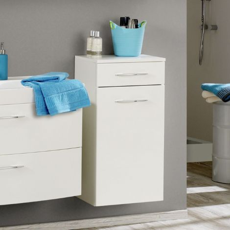 Armoire salle de bains Florent 40cm 1 porte & 1 tiroir - blanc