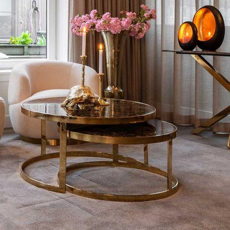 Lot de 2 tables basses Kondor - marbre/or