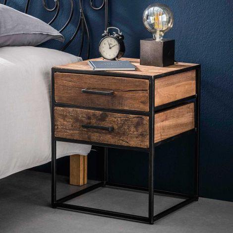 Table de chevet Florin 2 tiroirs industriel - bois dur
