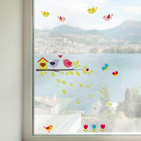 Stickers pour fenêtre Birds on a branch
