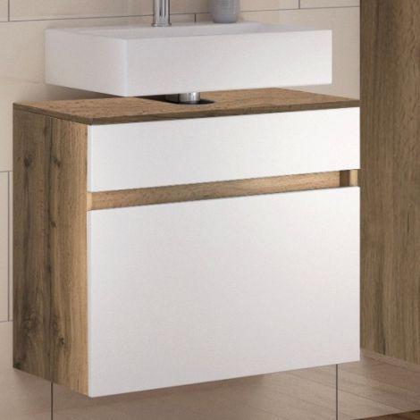Meuble sous lavabo Luna 60cm 1 tiroir - chêne/blanc