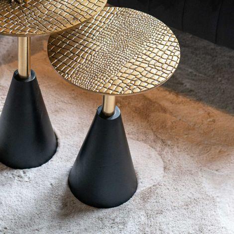 Table d'appoint Cabral ø30cm - noir/or