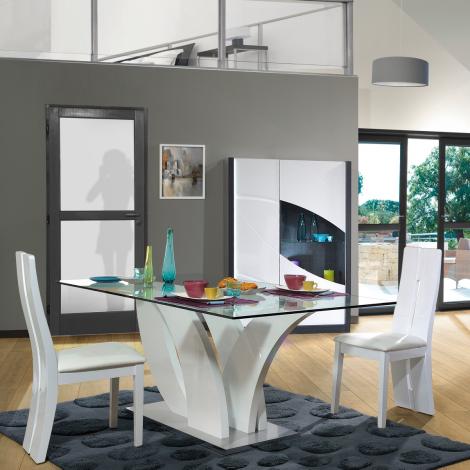Table à manger Eloa 200x100 avec plateau en verre - blanc brillant