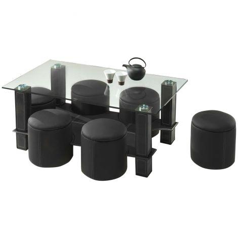 Table basse Bent avec 6 poufs - noir