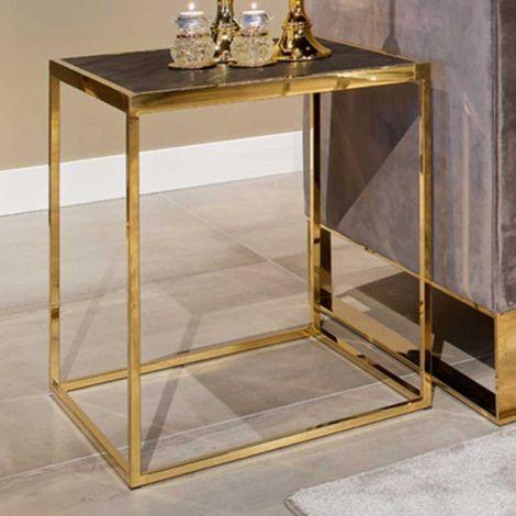 Table d'appoint Bony 50x50cm - noir/or