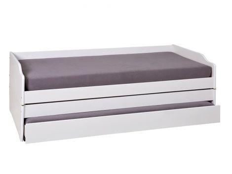 Lit banquette gigogne Lothar 90x200 cm - white wash