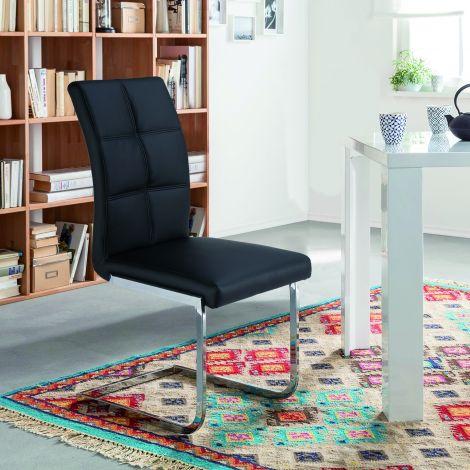 Lot de 2 chaises cantilever Eva - noir