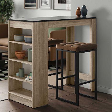 Table de bar Aravis 115x50 avec rangement - chêne/noir