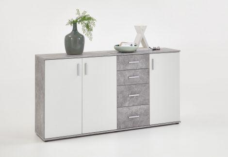 Commode Albi 3 portes & 4 tiroirs - béton/blanc