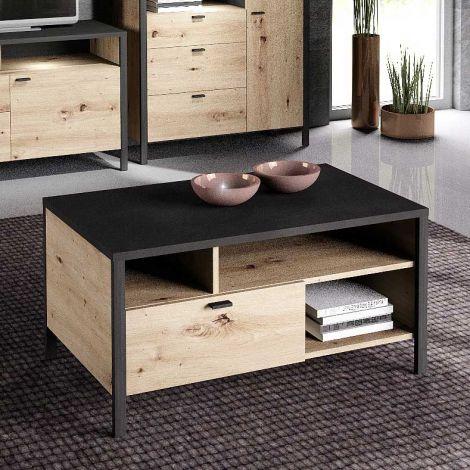 Table basse In-Loft 95x59 industriel - chêne vieilli