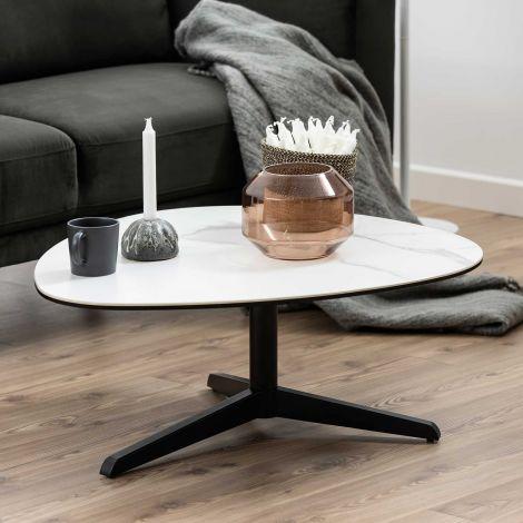 Table basse Bartos 84x77 céramique - blanc/noir